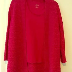 Talbots Med. Petite Fuchsia 2pc. Sweater and tank